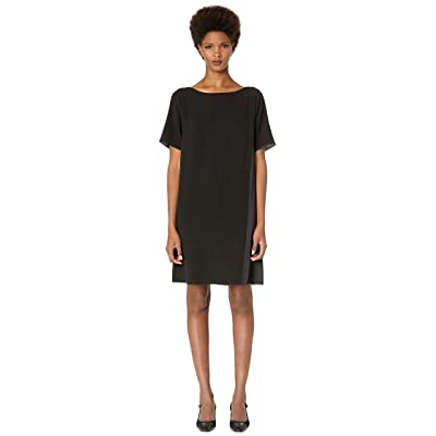 Eileen Fisher Bateau Neck Short Sleeve K/L Dress (Black) Women
