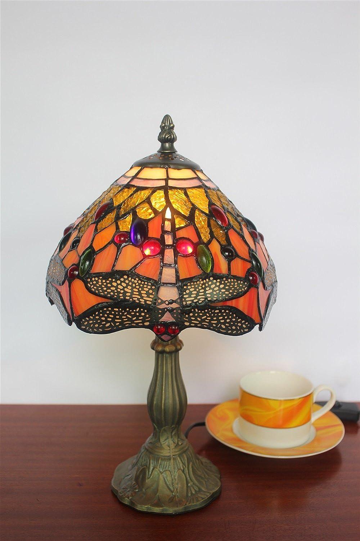HDO 8-Zoll Vintage Pastorale Glasmalerei Libelle mit bunten Perlen Tischlampe Schlafzimmer Lampe Nachttischlampe (Farbe   2)