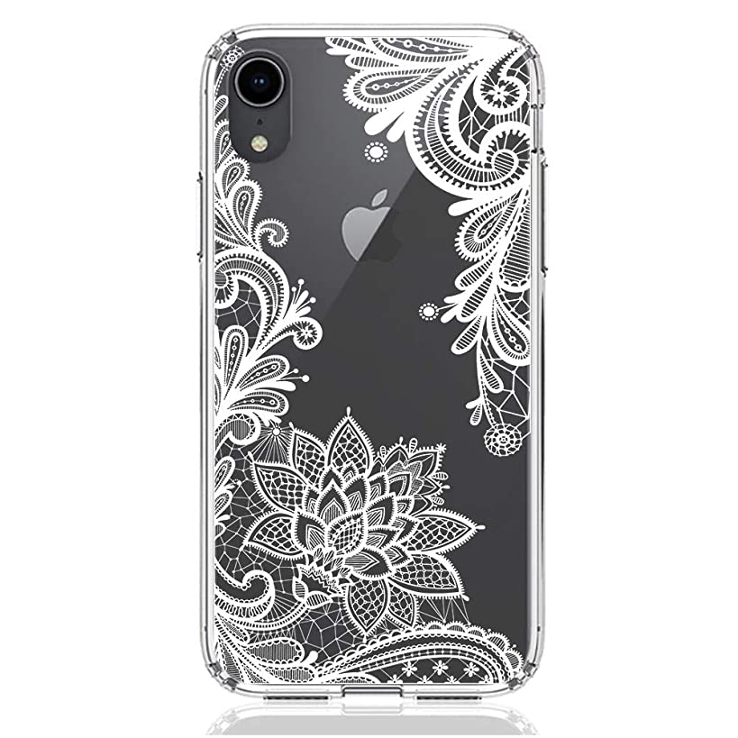 HUIYCUU Case Compatible with iPhone XR Case, Shockproof Clear Design Flower Pattern Slim Fit Soft Bumper + Hard Back Cover for Girl Women for iPhone Xr, White Lace
