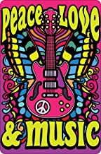 New Vintage Metal Tin Sign Peace,Love & Music Outdoor Street Garage & Home Bar Hotel Wall Decor Signs 12X8Inch