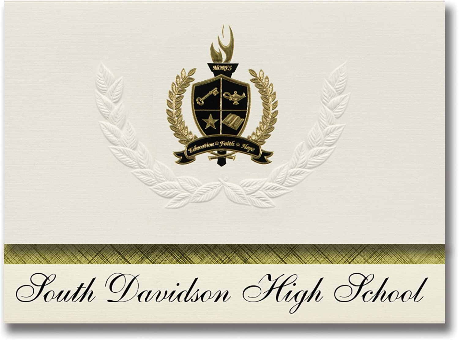 Signature Ankündigungen South Davidson High School (Denton, NC) Graduation Ankündigungen, Presidential Stil, Elite Paket 25 Stück mit Gold & Schwarz Metallic Folie Dichtung B078VCBJ97   | Zuverlässige Leistung