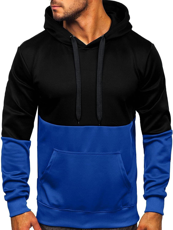 Huangse Men's Sweatshirts Long Sleeve Pullover Patchwork Hoodie Casual Color Block Drawstring Hoody Top with Kangaroo Packet