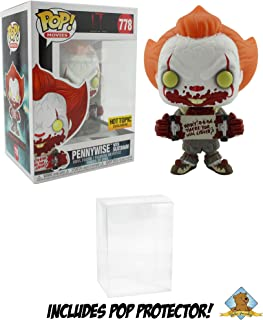 IT Chapter Two Pennywise with Skateboard Hot Topic Exclusive Vinyl Figure Featuring Golden Groundhog Plastic Protector Bundle