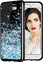 Galaxy J7 2017 Case, Caka Starry Night Series Bling Glitter Flowing Floating Luxury Liquid Sparkle Soft TPU Case for Samsung Galaxy J7 Sky Pro Prime J7 V J7 Perx Halo 2017(AT T) (Blue)
