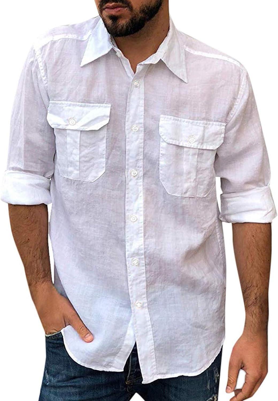 FUNEY Men's Casual Cotton Linen Shirts Long Sleeve Slim Printed Beach Shirts Top Blouse Lightweight Plain Shirts with Pocket
