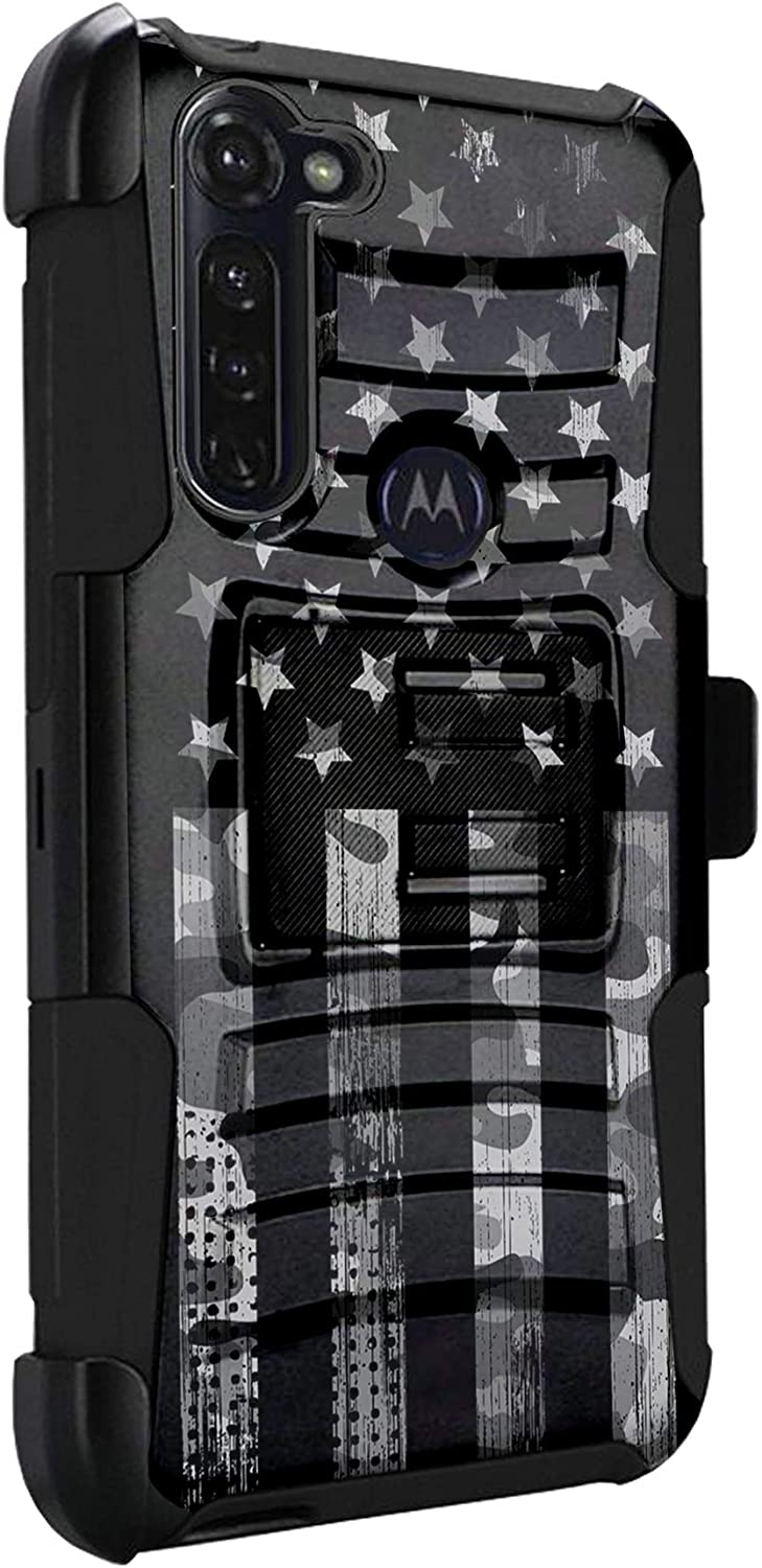 DALUX Hybrid Kickstand Holster Phone Case Compatible with Moto G Stylus/Moto G Power / G8 Power (2020) - Gray Camo Half US Flag