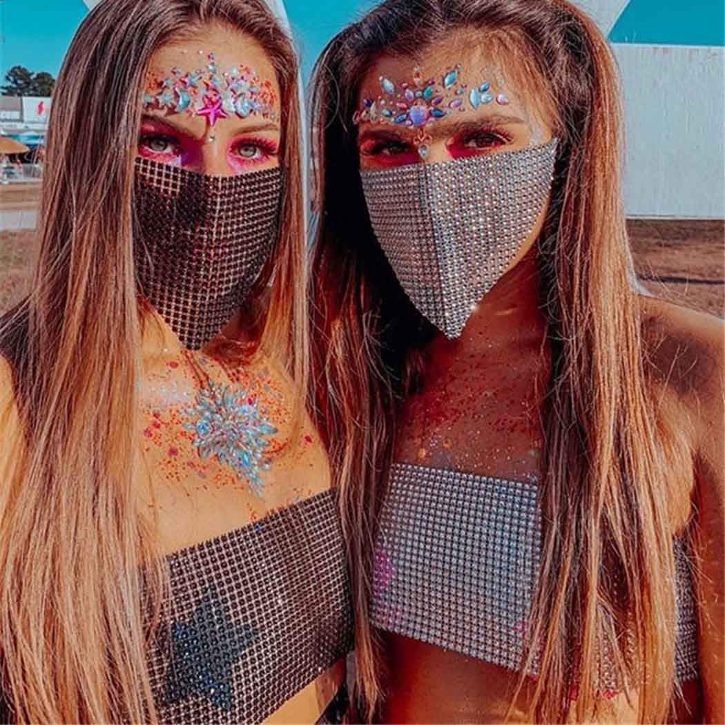 Zoestar Sparkly Crystal Bra Chain Rhinestone Mesh Mask with Chest Wrap Chain Diamond Masquerade Masks Festival Rave Party Outfits Body Chain Jewelry for Women and Girls