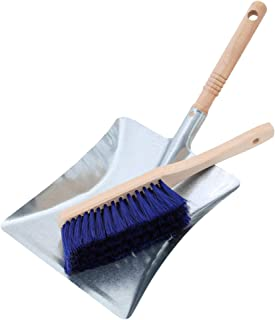 Kamino-Flam Galvanised Metal Dustpan Set, Traditional Hearth Fireside Ash Shovel and Brush Set, Dustpan and Brush with Loo...