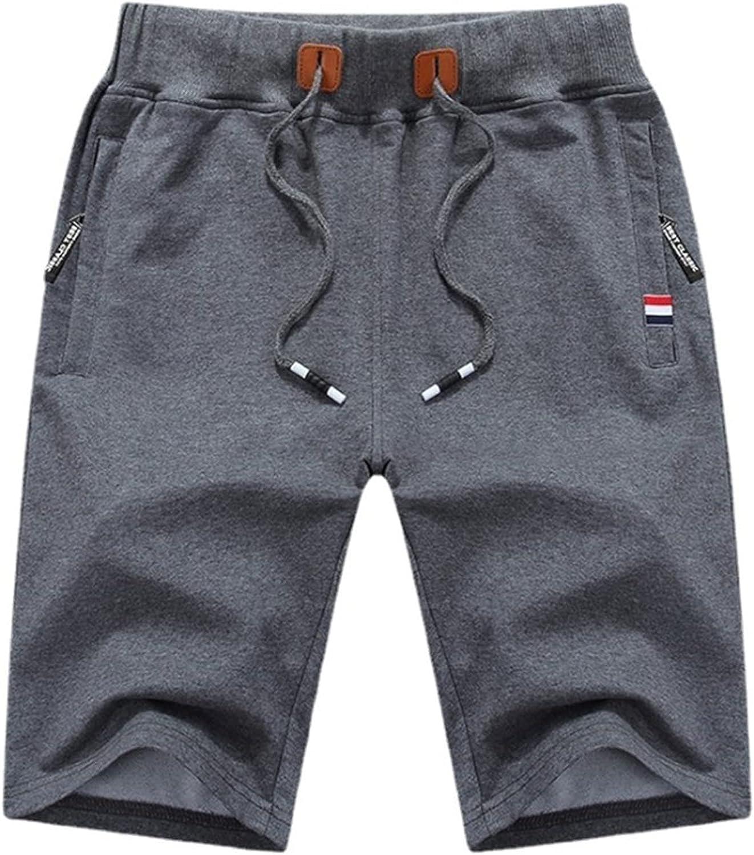 Angbater Mens Fashion Casual Shorts Workout Gym Cotton Zipper Pockets Drawstring Plus Size Short Pants