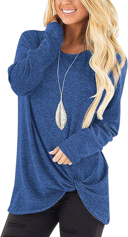 JNKLWPJS Women's Casual Shirts Long Sleeve Twist Knot Tunics Tops