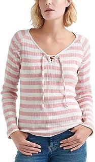 Lucky Brand Women's STRIPE LACE-UP HENLEY TOP Shirt