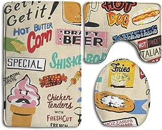 Coney Island Food Signs - Beige Fashion Bathroom Rug Mats Set 3 Piece Anti-Skid Pads Bath Mat + Contour + Toilet Lid Cover