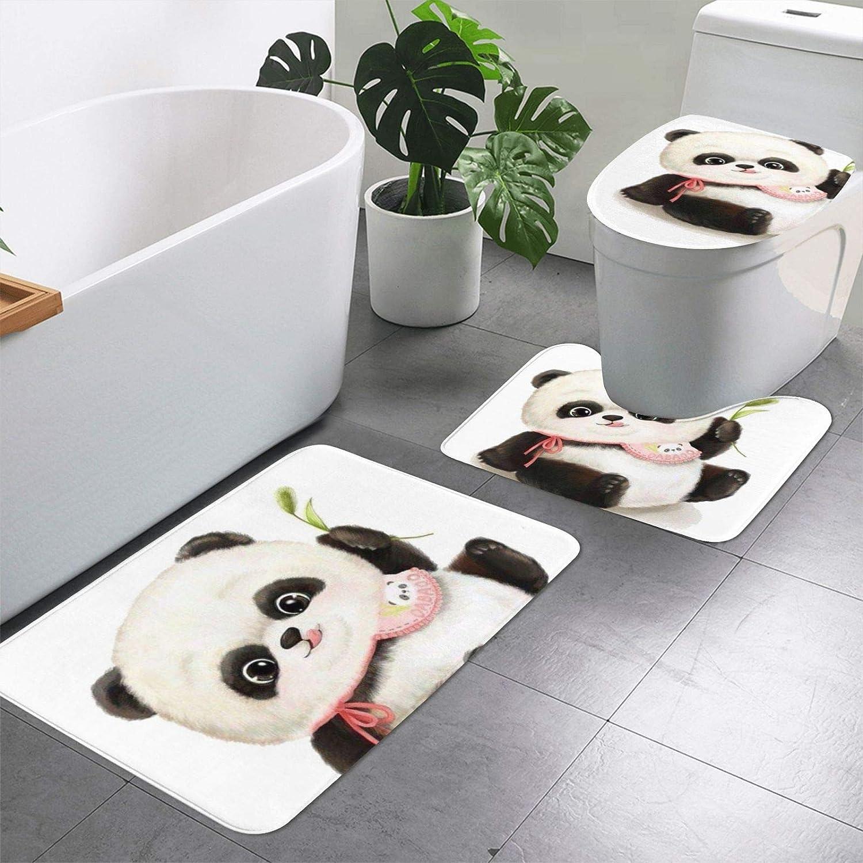 Baby Pandas Print 3 Pieces Bath Set Rugs Bathroom Mat+Contour+T Sales New arrival