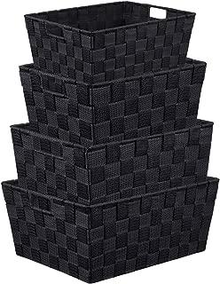 LEAVINSKY Nylon Woven Box, Woven Storage Basket Bin Container, Stackable Storage Basket Woven Strap Shelf Organizer, Nylon Storage Basket for Closet, Office, 4 Pack, Black