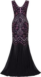 Womens 1920s Inspired Cap Sleeve Beaded Sequin Gatsby Long Evening Prom Dress