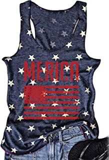 NENDFY Women Merica American Flag Print Graphic Letters Tank Top Casual Vest T-Shirt
