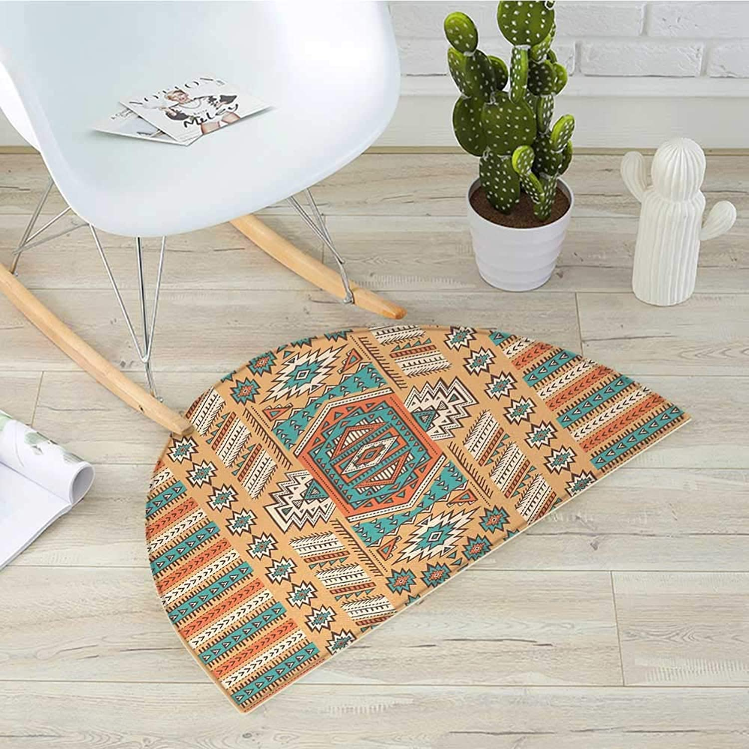 Tribal Half Round Door mats Ethnic Aztec Secret Tribe Pattern in Native American Bohemian Style Bathroom Mat H 43.3  xD 64.9  Apricot orange and Teal