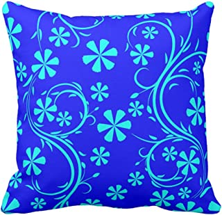 Floral Design Navy Blue and Aqua Teal Flower Pattern Decorative Pillowcase Cushion Cover Throw Pillow Case Accent Pattern, 20X20 Inch