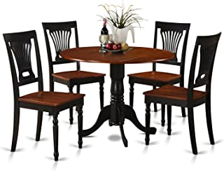East West Furniture 5-Piece Kitchen Table and Chairs Set, Black/Cherry Finish, Buttermilk
