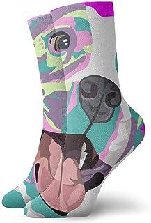 tyui7, Calcetines de compresión antideslizantes Pitbull rosa Calcetines deportivos acogedores de 30 cm para hombres, mujeres, niños
