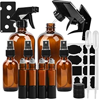 Glass Spray Bottle, KAMOTA Amber Glass Spray Bottles Set Refillable Container for Essential Oils, Cleaning Products, or Aromatherapy - 16 OZ x 2, 2 OZ x 4, 10 ml Roller Bottle x 4