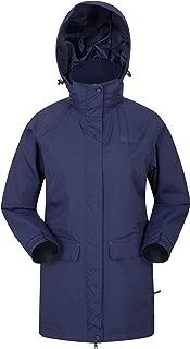 Mountain Warehouse Glacial Womens Waterproof Jacket - Taped Seams Rain Coat, Breathable Casual Jacket, Detachable Hood Trench Coat - Ideal Ladies Winter Coat for Walking