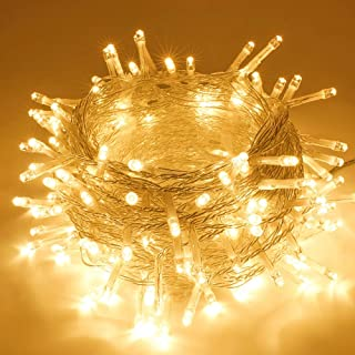 SANJICHA String Lights Indoor/Outdoor, Waterproof Christmas Lights 66FT 200 LED Warm White, Safety Plug in String Lights 8 Modes Fairy Lights for Christmas Tree Patio Wedding Garden Bedroom Party
