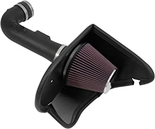 K&N Cold Air Intake Kit with Washable Air Filter: 2016-2019 Chevy Camaro, 3.6L V6, Black HDPE Tube with Red Oiled Filter, 63-3094