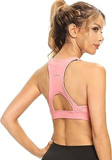 Ultrafun Women Sports Bra Lightweight Wirefree Padded Running Yoga Bra with Back Phone Pocket for Tennis Workout Gym