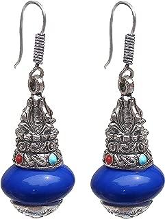 Lucky Jewellery Black Metal Silver Oxidised Blue Stone Kalash Urn Style Earring for Girls & Women (152-AEO-J339-B-S)
