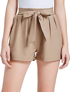 Women Bowknot Tie Waist Summer Casual Shorts with Pockets
