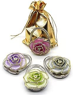 Set of 4 Handbag Hook Rose Flower Foldable Purse Handbag Hook Table Hanger