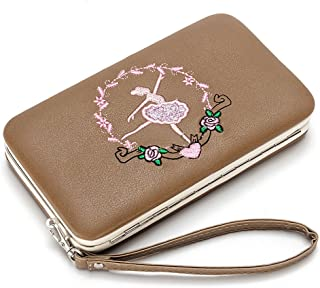 Wallet Woman Leather Long Rigid Cell Phone Holder Colorful Colored Coin Purse Embroidered Multifunction Metal (Color : Coffee, Size : One Size)