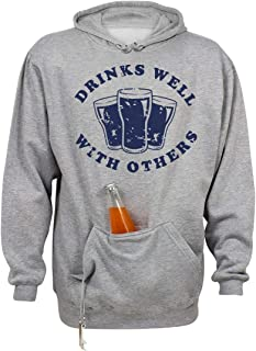 Drinks Well with Pocket: Unisex Beer Holder Tailgate Hoodie
