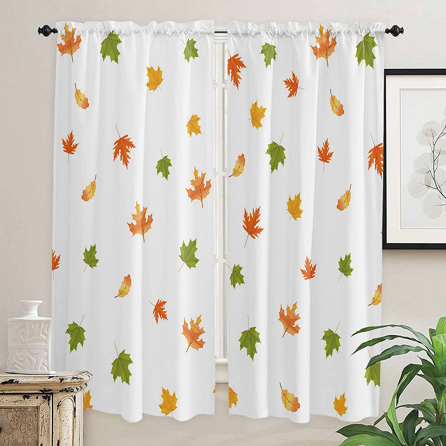 Falling Maple Leave Kitchen Curtains 72 for Fashion Tucson Mall Length Windows Inch