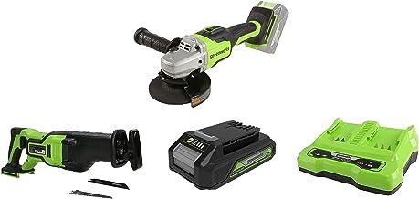 Greenworks Tools Amoladora angular inalámbrico GD24SAG + Batería sierra de sable GD24RS, 24V Li-Ion + Batería G24B2 2ª generación + Batería de doble ranura Cargador universal G24X2C
