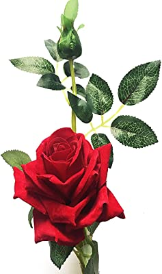 SAUBHAGYA GLOBAL Artificial Rose And Bud Flower Stick (Red, 1 Piece)