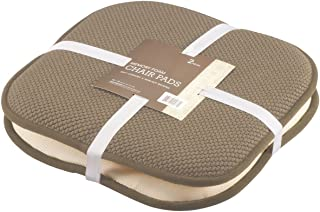 GoodGram 2 Pack Non Slip Ultra Soft Chenille Premium Comfort Memory Foam Chair Pads/Cushions - Assorted Colors (Taupe)