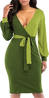 Women Sexy V Neck Lantern Sleeve Color Block Wrap Party Midi Bodycon Pencil Dress