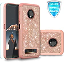 Cellularvilla Moto Z3 Case, Moto Z3 Play Case with Tempered Glass Screen Protector, Bling Glitter Dual Layer Full Body Protective Shockproof Bumper Case for Motorola Moto Z3 / Play 2018 (Rose Gold)