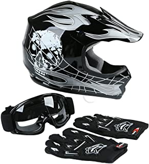 TCT-MT Youth Helmet+Goggles+Gloves DOT Motocross Hot Youth Kids Helmets Black Skull Dirt Bike ATV Helmet Large