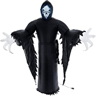 Halloween Haunters Giant 9 Foot Inflatable Spooky Black Reaper Ghost with LED Lights Indoor Outdoor Yard Lawn Prop Decoration - Blow Up Haunted House Party Display - Boo