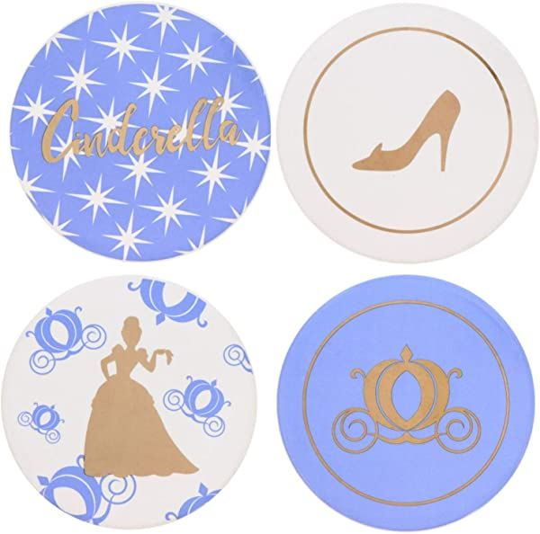 Cinderella Themed Coaster Set 4 Piece Ceramic Heavy Coasters Ideal For Cinderella Disney Fans 4 Unique Designs A Beautiful Gift That Protects Tables From Drink Marks