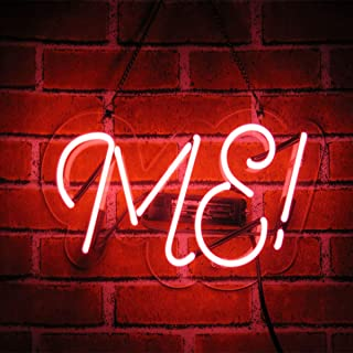 Neon Signs ME Shaped Handmade Glass Neon Light Sign 14 x 5 Inch Pink Novelty Night Light Decorative Beer Bar Sign for Bedroom Wall Office Party Decor