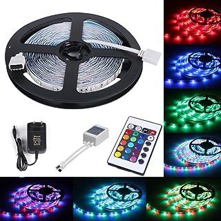 comprar comparacion ALED LIGHT Tira de Luz LED RGB 5 metros 3528 SMD 300 LEDs + Adaptador de Alimentación de 12V 2A + 24 Mando a Distancia Cla...