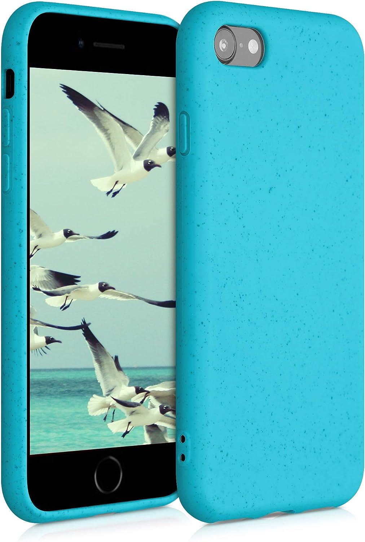 kalibri Carcasa Compatible con Apple iPhone 7/8 / SE (2020) - Funda de TPU y Trigo Natural ecológico - Azul Turquesa