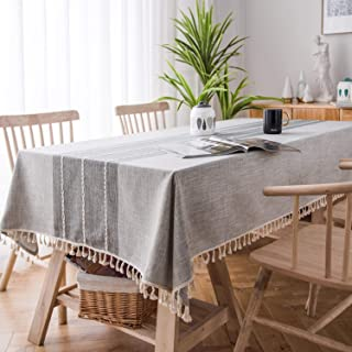 SOLEDI Stitching Tassel Tablecloth Cotton Linen Fabric Dust-Proof Table Cover for Kitchen Dinning Tabletop Decoration Square Table Round Table is Available,55