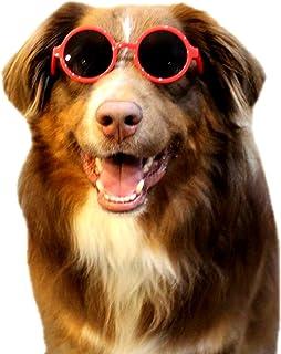 G001 Dog Pet Round Costume Sunglasses Medium-Large Dogs 20lbs-40lbs (red)