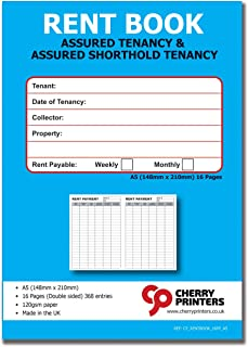 Książka do wynajmowania Cherry Tenants – gwarantowana najemca i gwarancja krótkotrwałej najemcy – tygodniowy/miesięczny A5...