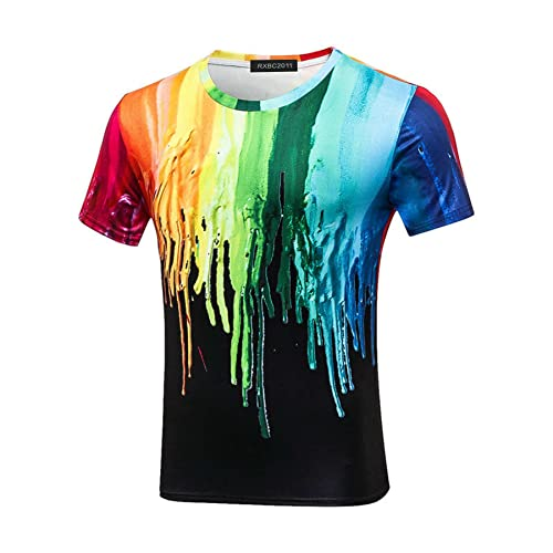1dee0819 RXBC2011 Men's 3D Printed Rainbow Watercolor Paint Short Sleeve T-Shirt  XS-5XL